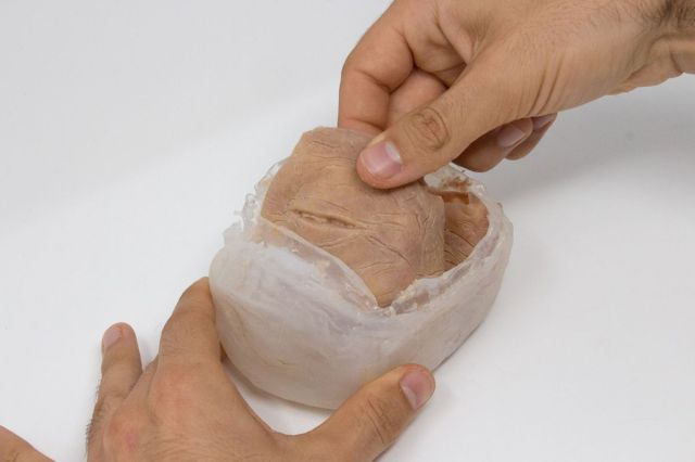 Two hands, one braced at the bottom of a container, and the other pulling out a chunk of synthetic flesh with eyelids. The eyeball has not been inserted yet.