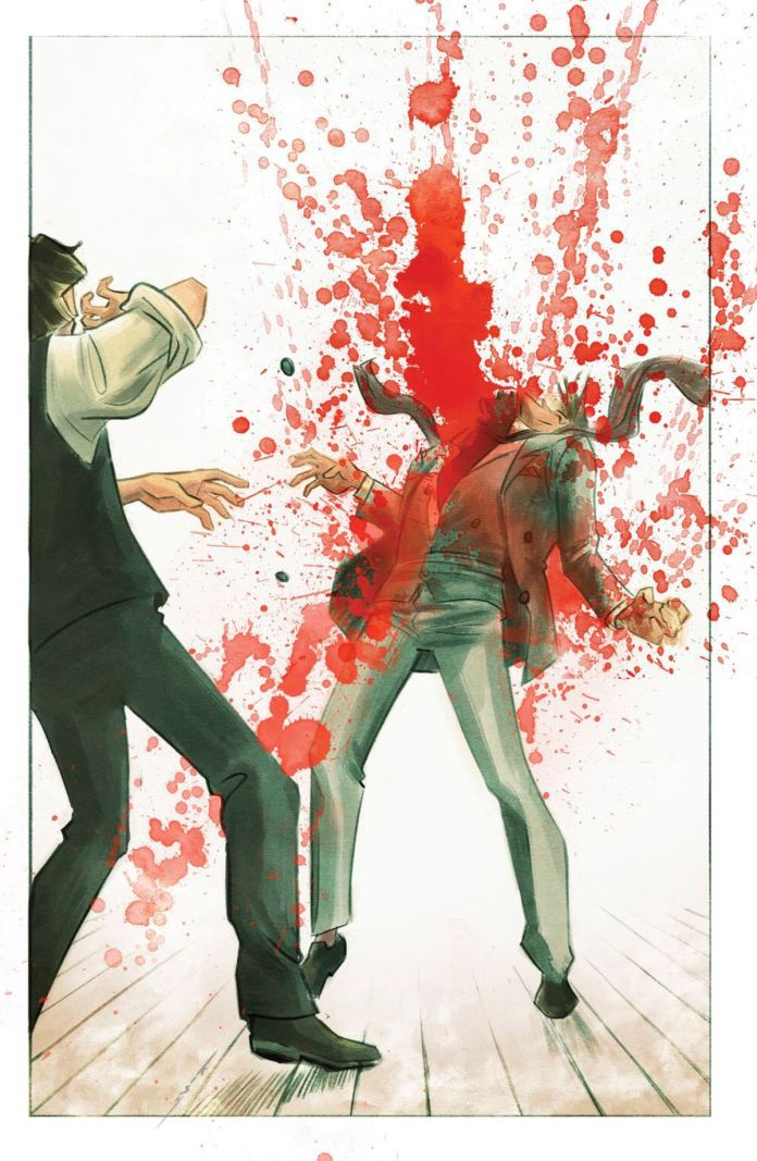 A man explodes in a shower of blood, as if he is being ripped in half, in The Picture of Everything Else #1, Vault Comics (2020).