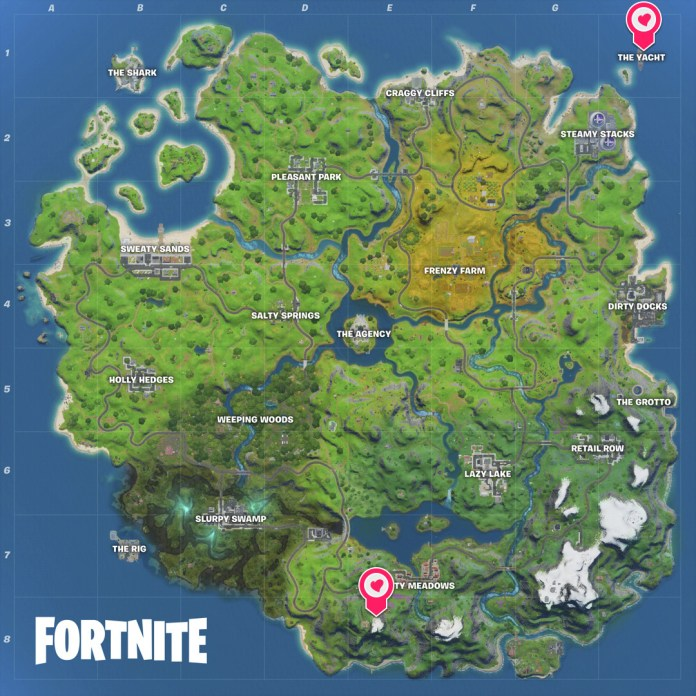 The location of The Yacht and Apres Ski dance floors for Fortnite's Travis Scott challenge