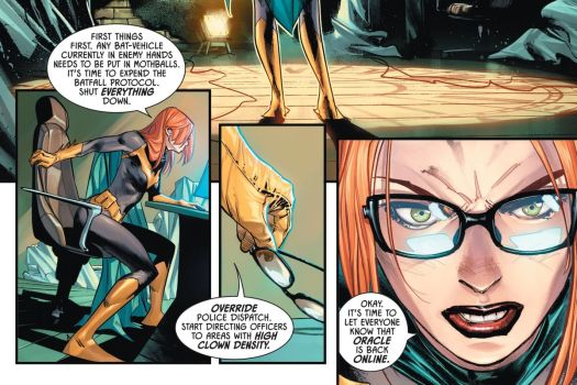 """Batgirl, sans her mask, sits down at a computer console in her clocktower hideout, and puts on her glasses. """"Okay,"""" she says, """"It's time to let everyone know that Oracle is back online,"""" in Batman #100, DC Comics (2020)."""