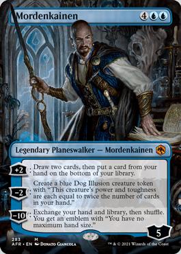 Mordenkainen, legendary Planeswalker full art card.