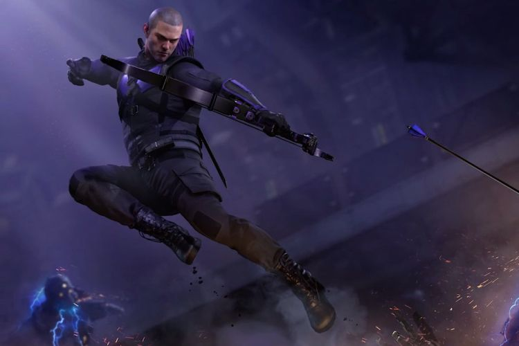 Hawkeye fires an arrow in artwork from Marvel's Avengers