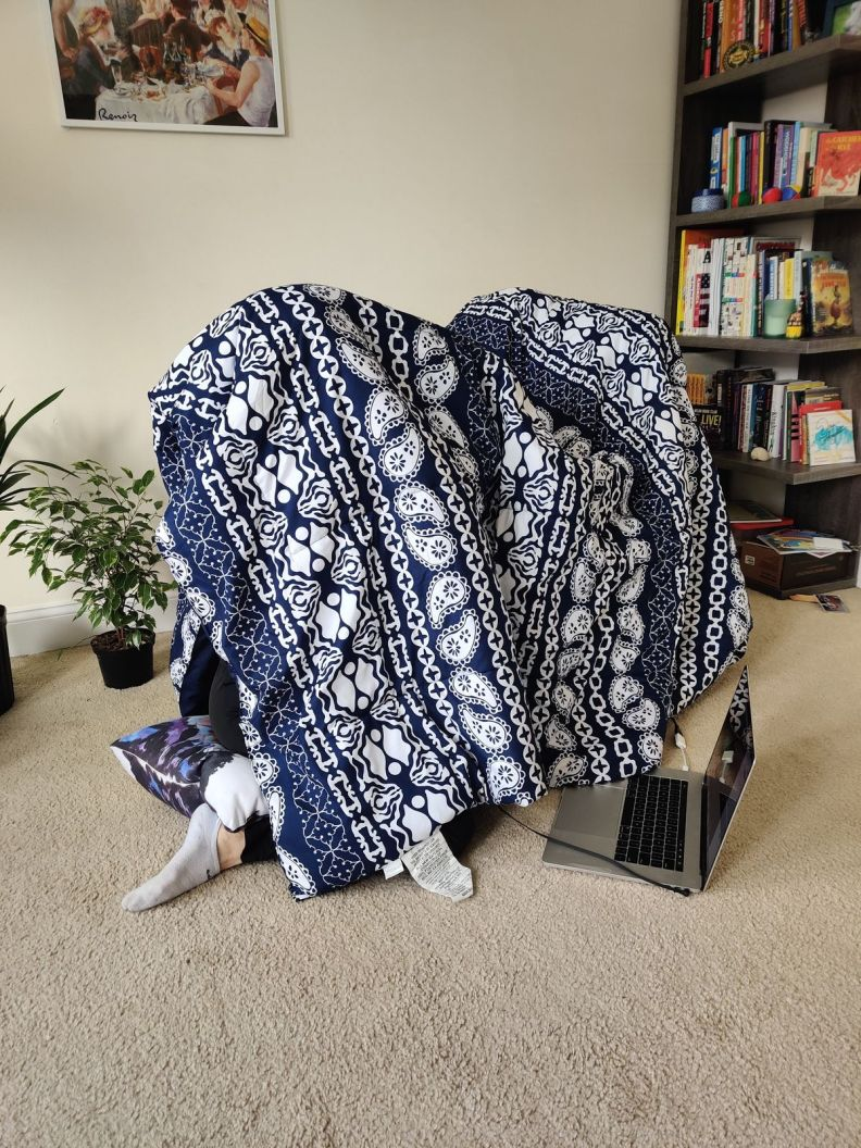 Clara under the blanket, recording
