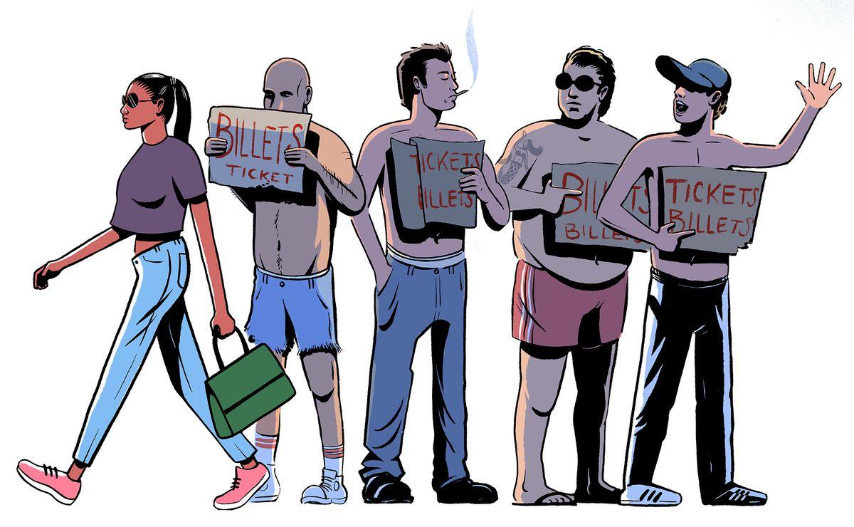 Illustration de quatre hommes torse nu tenant des pancartes indiquant «TICKETS» en anglais et en français.