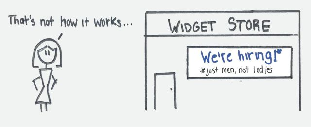 """Widget Store with sign that says """"We're hiring!* *just men, not ladies"""""""