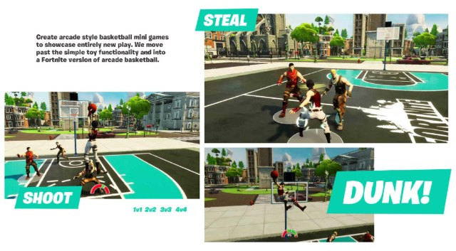 """A slide detailing the planned basketball mini-game, including the text """"Create arcade style basketball mini games to showcase entirely new play. We move past the simply toy functionality and into a Fortnite version of arcade basketball"""""""