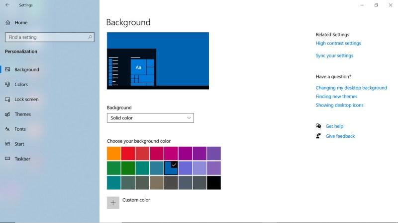 Pagina di sfondo, ma con opzioni di colore solido