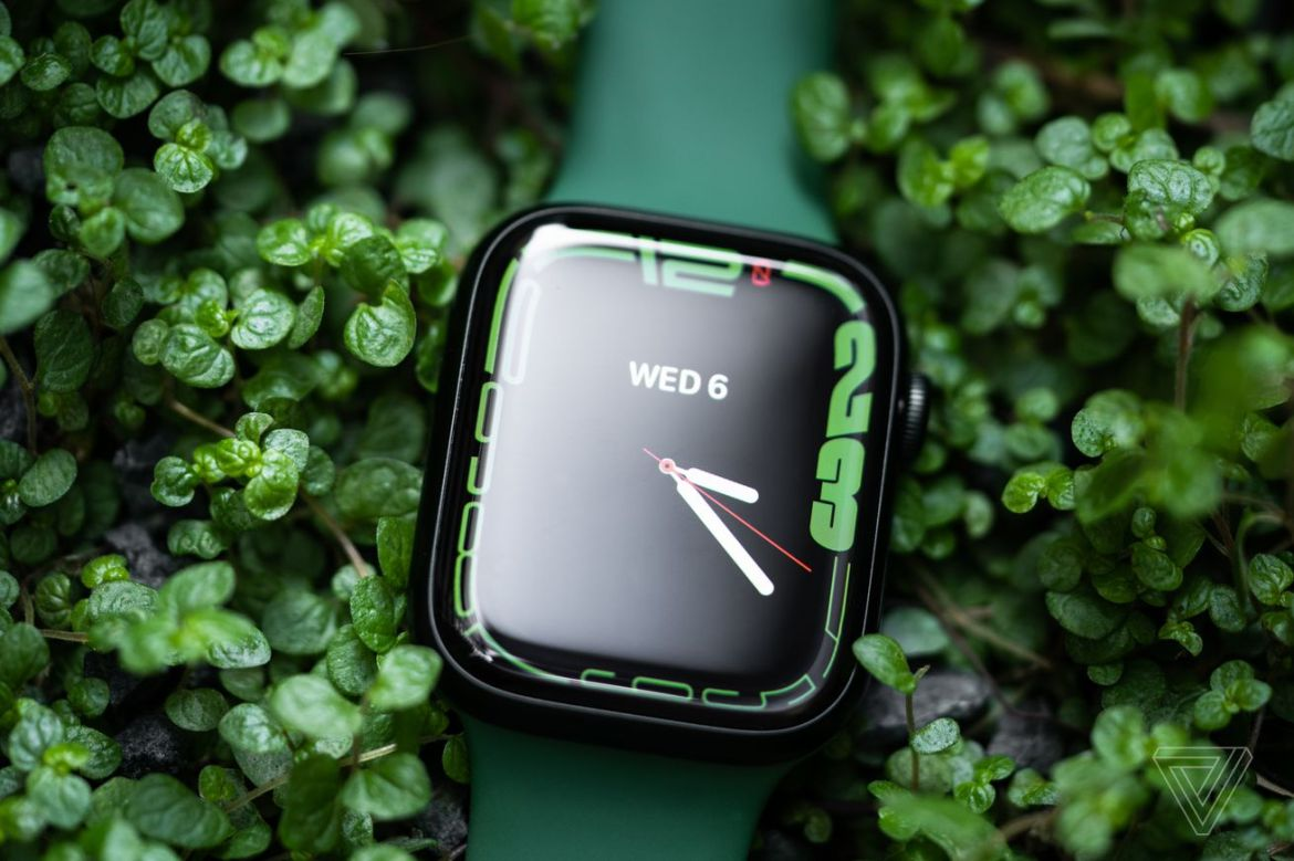 The Apple Watch Series 7 in green.