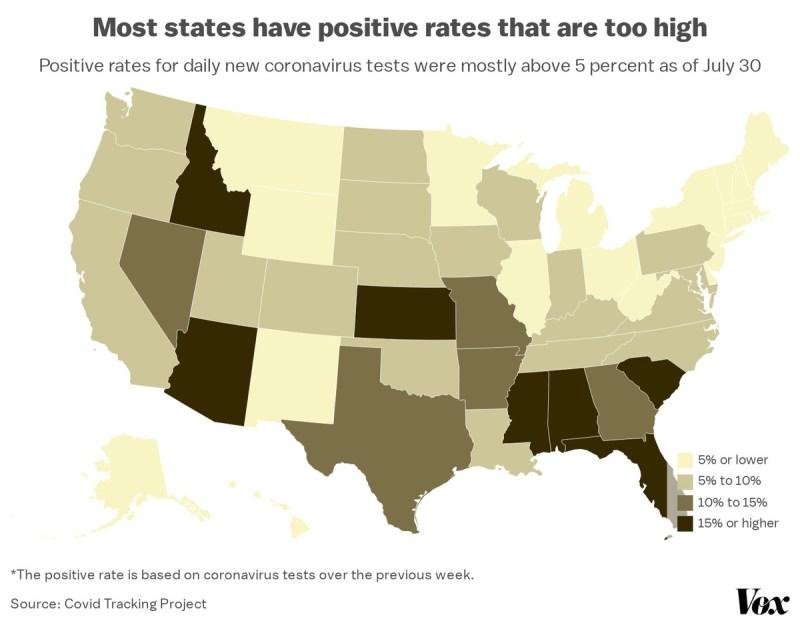 A map of coronavirus test positive rates.