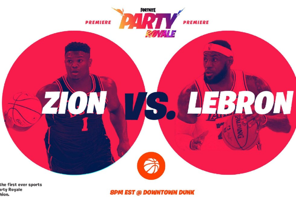 """An Epic promo doc presents """"Zion vs. Lebron"""" Fortnite Party Royale featuring Zion Williamson and Lebron James"""
