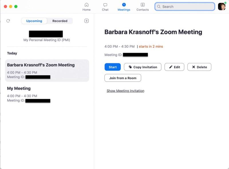 Come con la versione web, hai molte opzioni per programmare una riunione