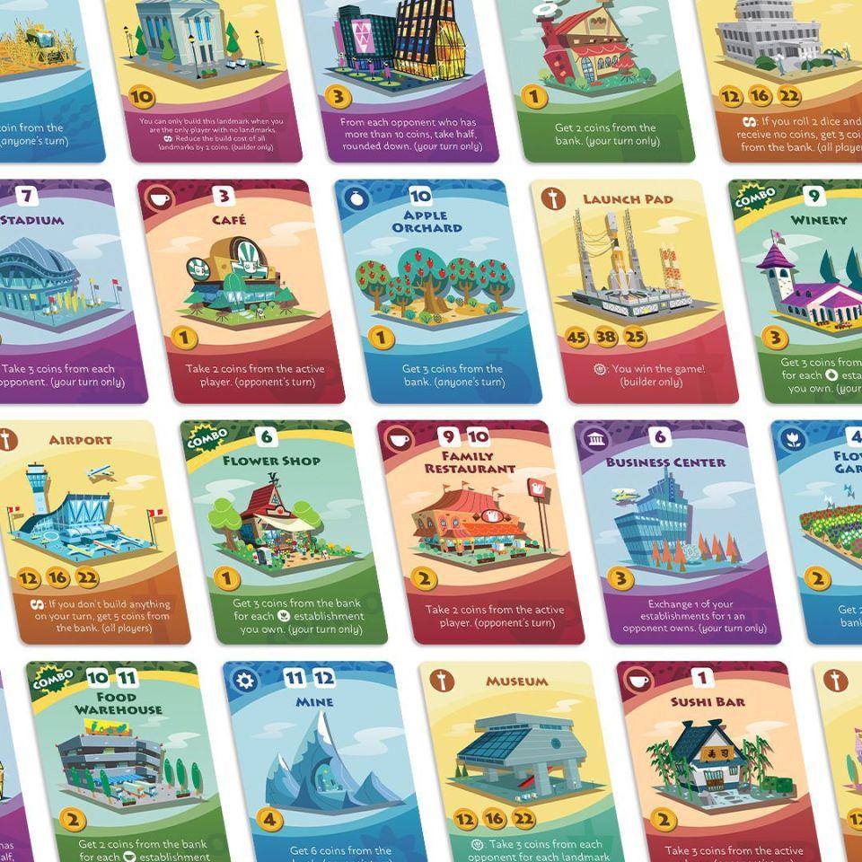 Un échantillon des nouvelles cartes disponibles avec Machi Koro 2, parmi lesquelles Sushi Bar, Mine et Museum.