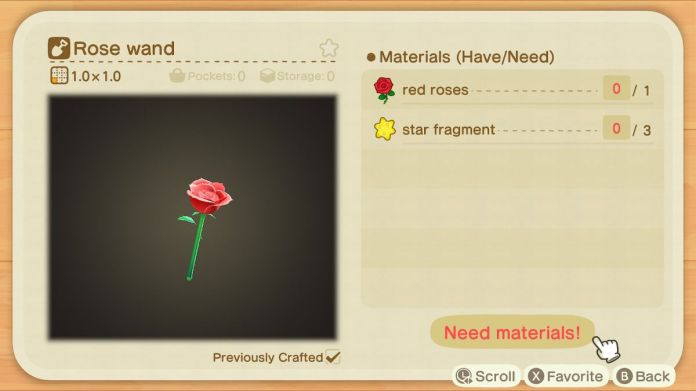 A recipe list for a Rose Wand