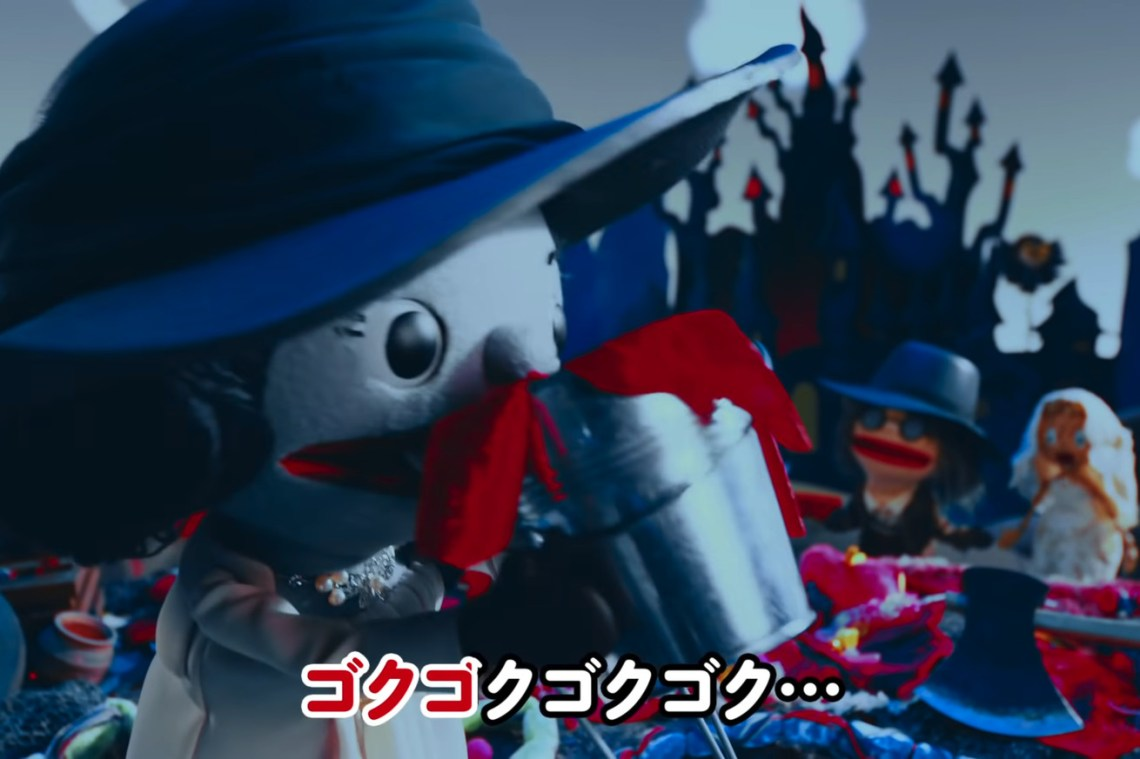 Watch the tall vampire lady gulp down a bucket of blood in this Resident Evil Village puppet show