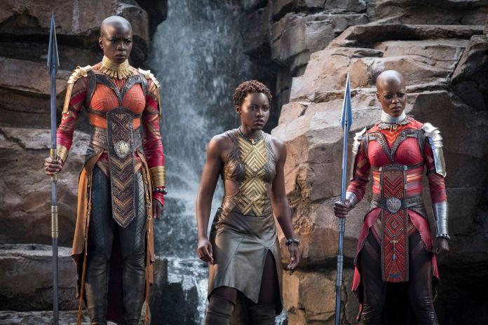 Marvel Studios' BLACK PANTHER..L to R: Okoye (Danai Gurira), Nakia (Lupita Nyong'o) and Ayo (Florence Kasumba)
