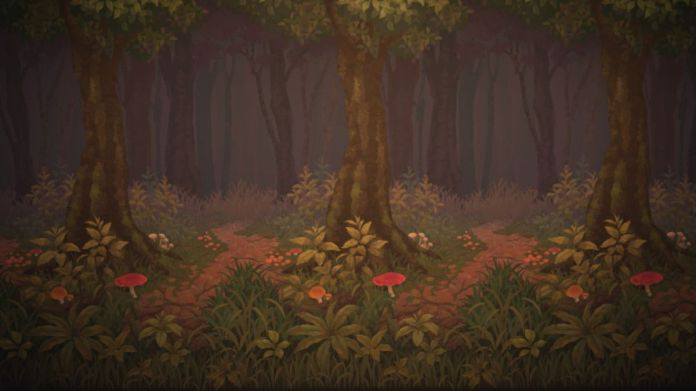 A wallpaper that shows trees with mushrooms surrounding them