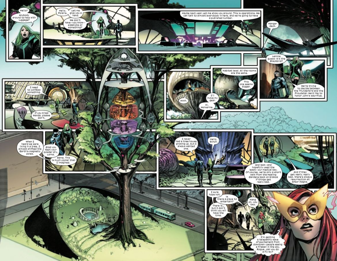 A complicated double page spread walks the reader through Polaris' arrival at the X-Men's Manhattan treehouse at Seneca Gardens in X-Men #1 (2021).