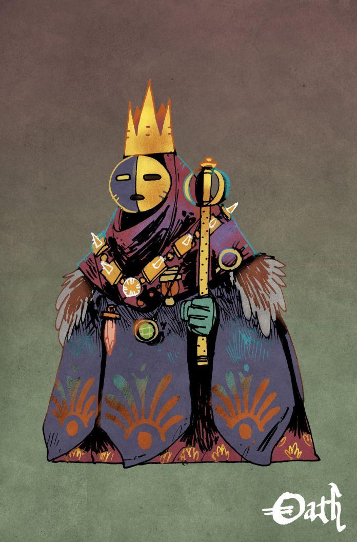 Zamaskowany humanoid trzymający berło, ubrany w masywne szaty, które inaczej ukrywały jego prawdziwą formę.