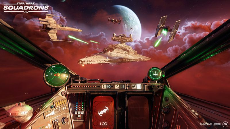 A view from the inside of an X-wing cockpit in Star Wars: Squadrons