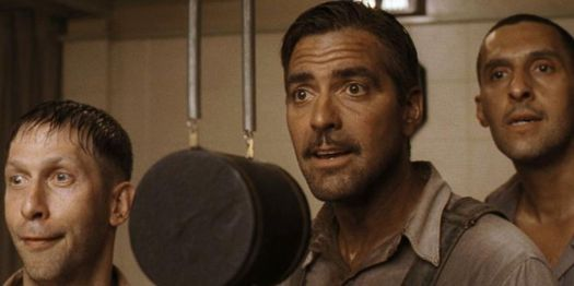 George Clooney, Tim Blake Nelson, and John Turturro record their hit song in O Brother, Where Art Thou?