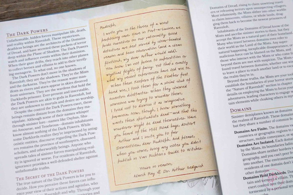 A letter from Alanik Ray and Dr. Arthur Sedgewick, analogues for Sherlock Holmes and Dr. Watson.