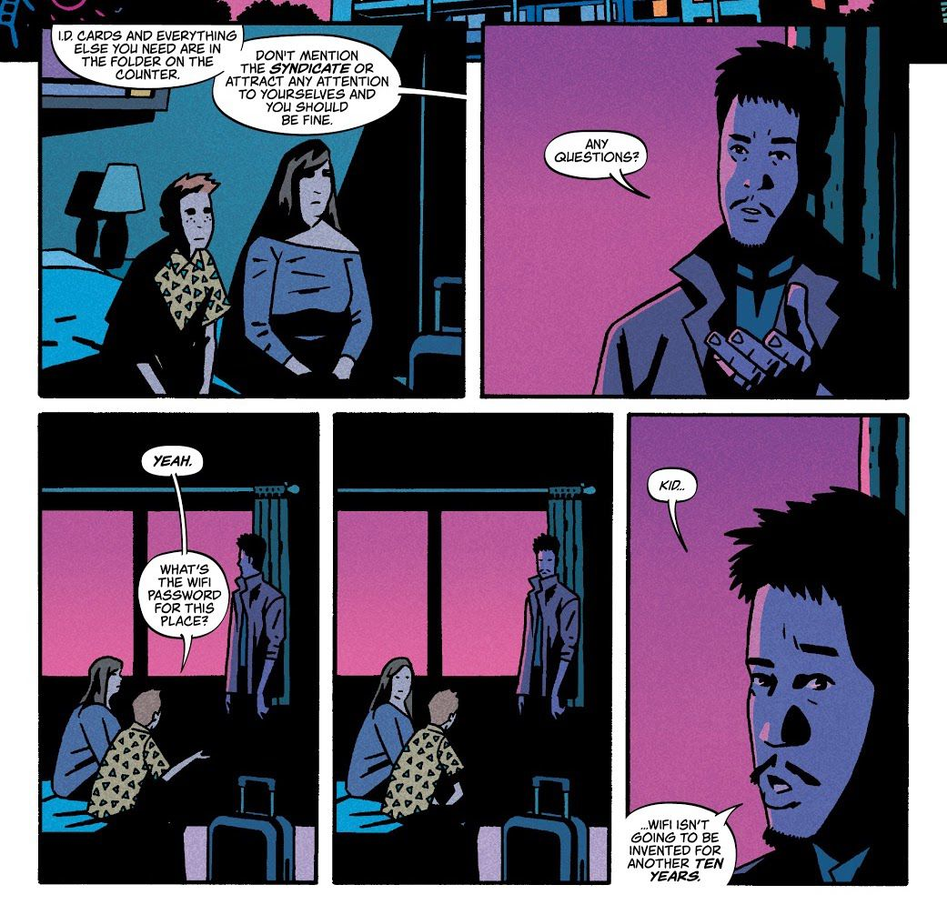 """A fixer explains the arrangements to a mother and child who seem to be in something like a witness protection program. When the kid asks what the wifi password is, he replies """"Kid. ...Wifi isn't going to be invented for another ten years,"""" in Time Before Time, Image Comics (2021)."""