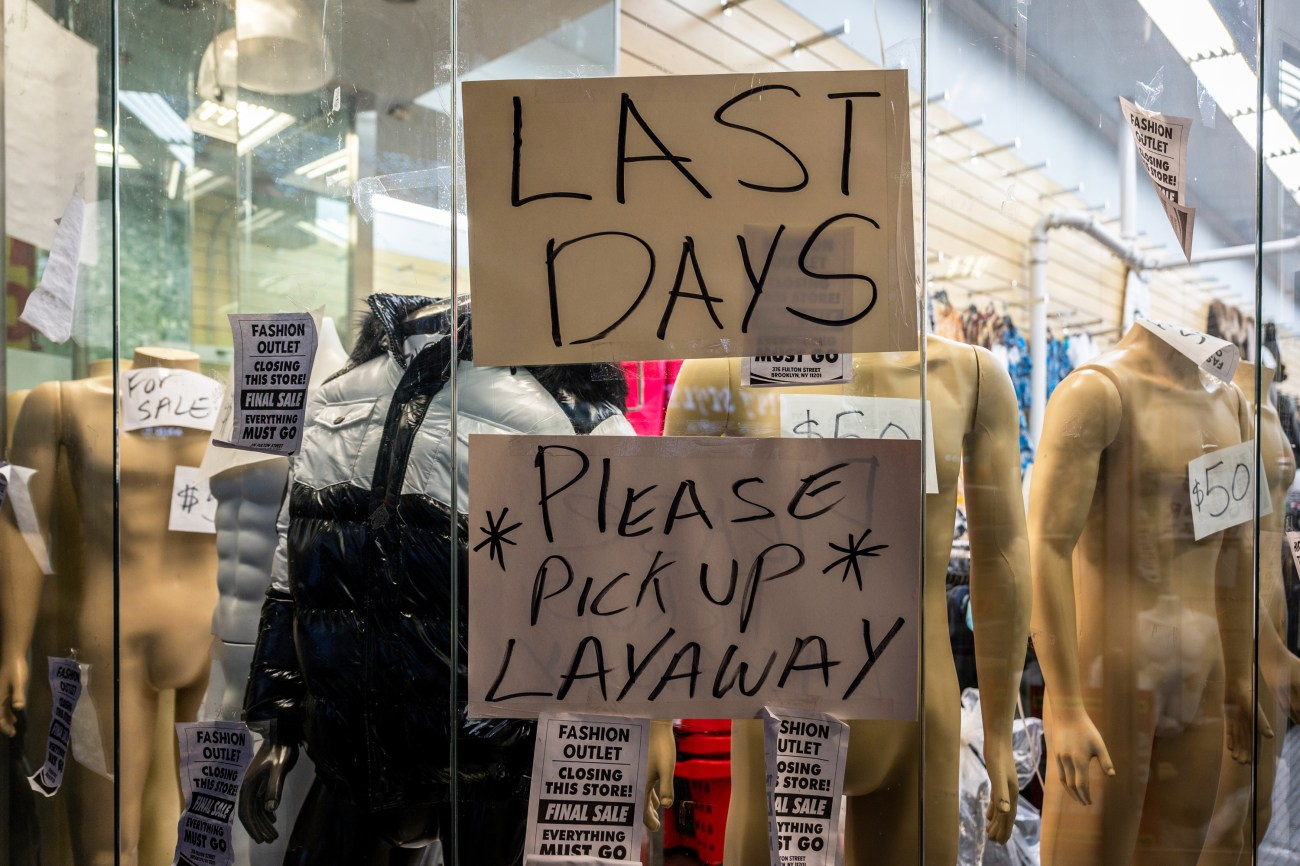 New York City Jobs Report: A Downtown Brooklyn store shows signs of economic struggle during the coronavirus outbreak, Dec. 17, 2020.