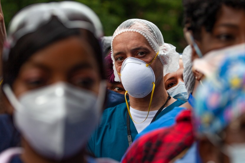 Hundreds of Bellevue healthcare workers held a rally outside the hospital in solidarity with people protesting the death of George Floyd, June 4, 2020.