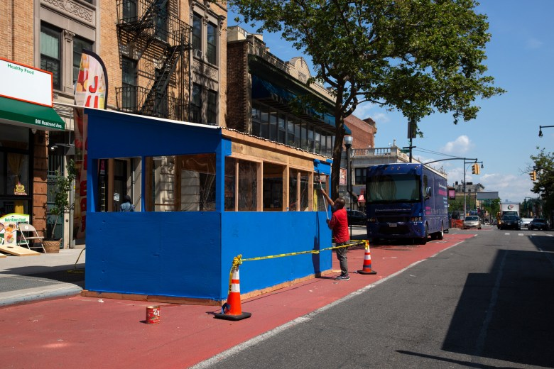 A Crown Heights restaurant put an outdoor dining structure in the bus lane along Nostrand Avenue, June 15, 2021.