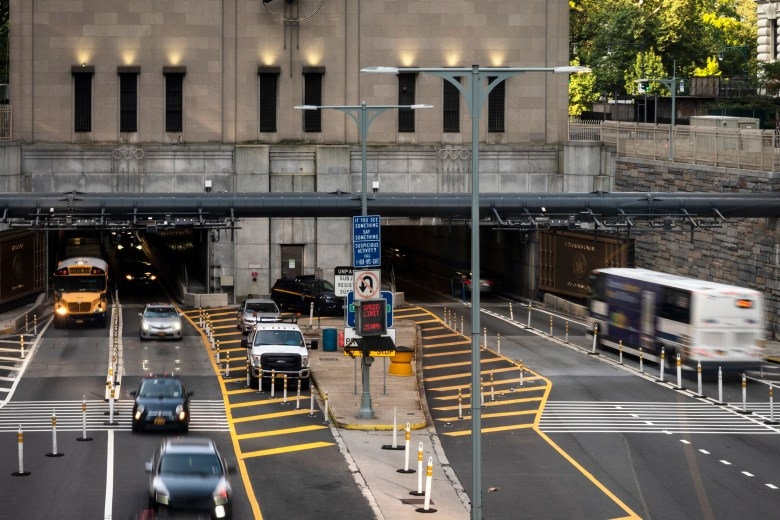 Cars drive through the Hugh L. Carey Battery Tunnel during rush hour, July 23, 2021.