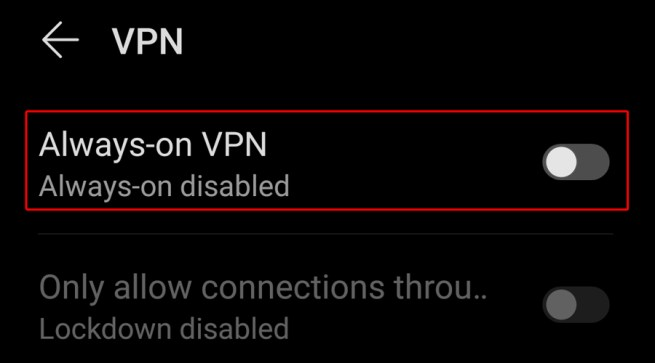 Android shows always-on VPN option