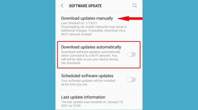 Android shows manually or automatically software updates