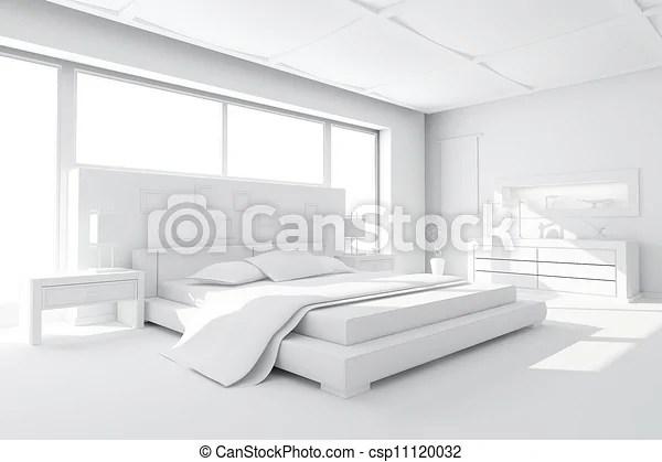 Chambre A Coucher Moderne 3d Render Argile Canstock