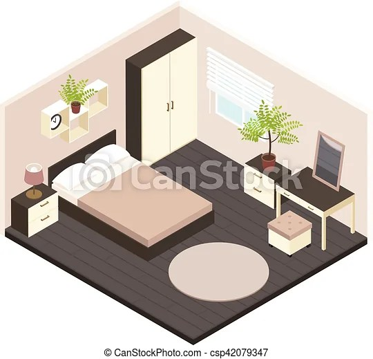 Interieur Isometrique 3d Chambre A Coucher Minimaliste Isometrique Renove Volumetrique Illustration Vecteur Chambre Canstock