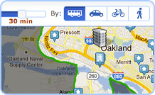 Screenshot of apartment search for rentals by commute time