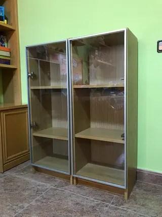 Libreria Ikea Billy Roble Con Puerta Cristal De Segunda Mano