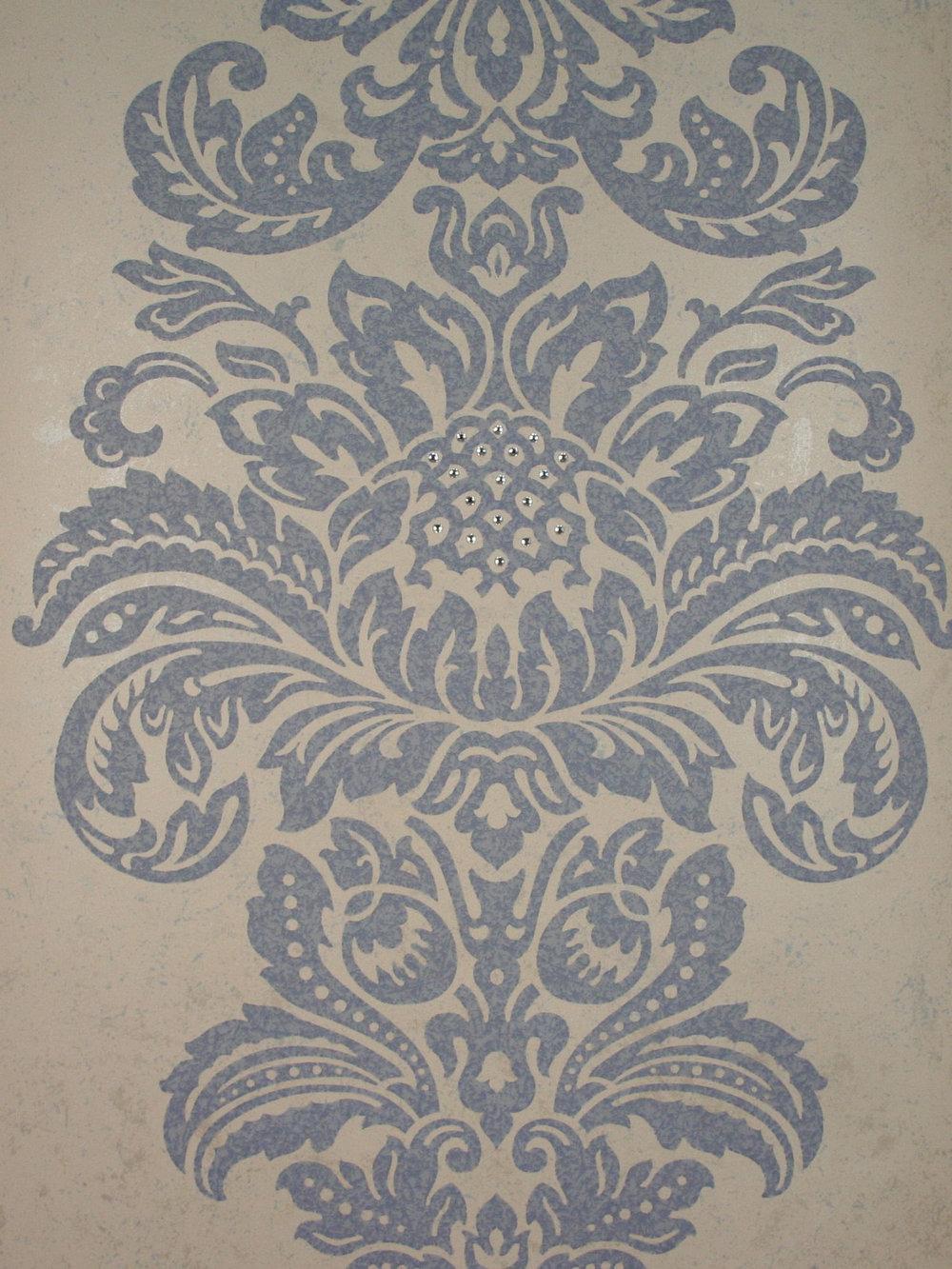 Damask Wallpaper Crystallised By Kandola Blue Cream Wallpaper Direct