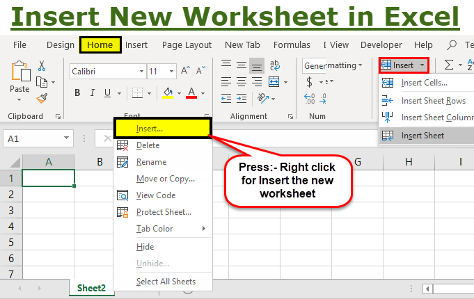 How To Insert A New Worksheet In Excel Step By Step