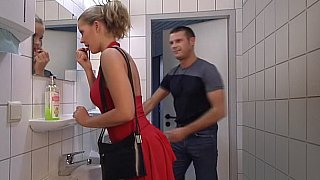 Lady in Red gets her ass fucked in Toilet. Swallow thumb