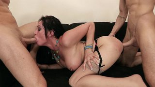 Tory Lane takes one stiff cock in her ass and the other in her mouth thumb