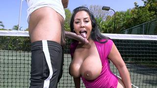 Buxom MILF Kiara Mia sucks on hard black dick outdoor thumb