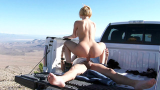 Kagney Linn Karter rides him on his truck bed cowgirl style thumb