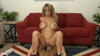 Big boobed cougar deepthroats and rides a hard dick thumb
