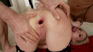 Melanie Taylor takes one dick in her butt while she gives the other a blowjob thumb