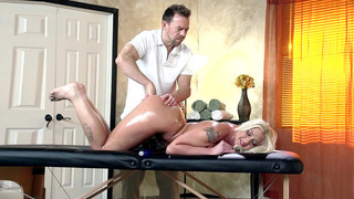 Leya Falcon gets fingered during massage while her boyfriend isn't looking thumb