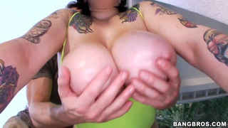 Chubby brunette Christine Rhydes gets a big cock thumb