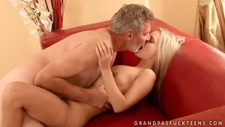 Sabrinka is having some good sex with an older guy and his dick thumb