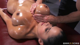 Young brunette girl with tight and very big boobs Diamond Kitty being oiled up and fucked in ass by Johnny Sins. thumb