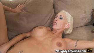 Blonde slut Kasey Grant gives hand job,blow job then gets boob fucked thumb