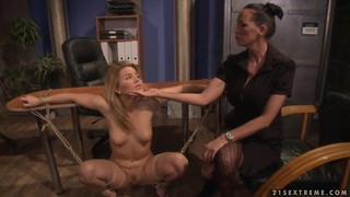 Hardcore BDSM action with nasty lesbian girls named Mandy Bright and Salome thumb